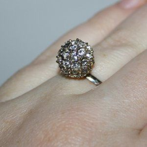 Size 8 silver and rhinestone ball ring